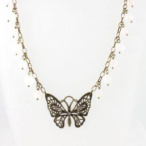 Rose Quartz butterfly necklace