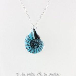 Turquoise nautilus pendant - detail