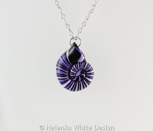 Purple nautilus pendant - detail