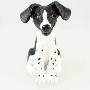 Black and white dog sculpture