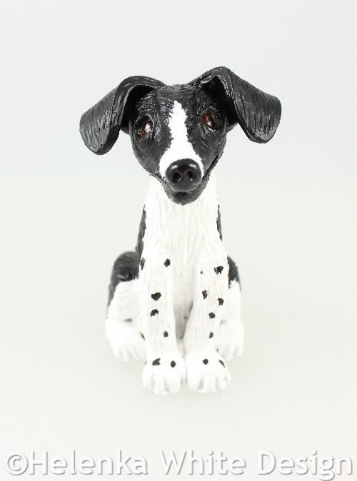 Black and white dog sculpture - front