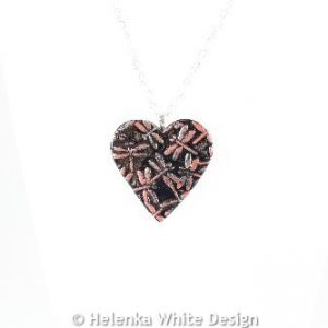 Red dragonfly heart pendant