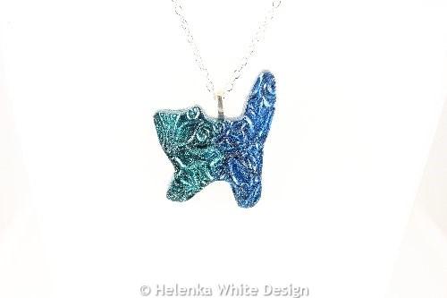 Green blue cat pendant