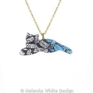 Silver blue cat pendant