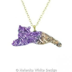 Purple & copper cat pendant
