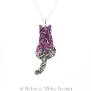 Magenta gold sitting cat pendant