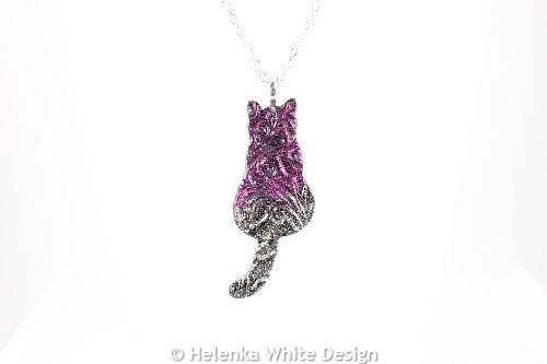 Magenta gold sitting cat pendant