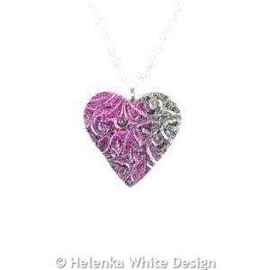 Magenta & gold heart pendant