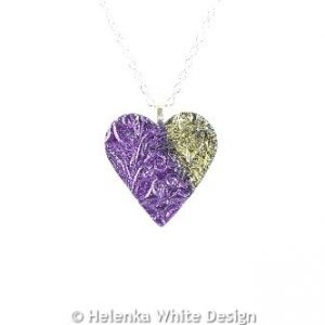 Purple & gold heart pendant -detail