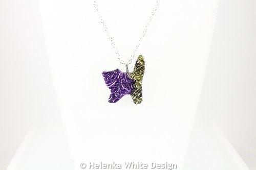 Purple gold cat pendant