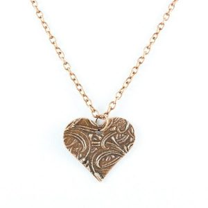 Cattails heart copper pendant