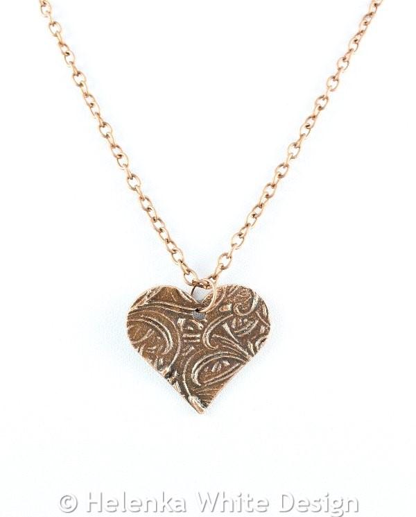 Cattails heart copper pendant