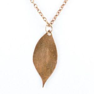 Copper leaf pendant - back