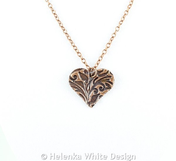 Floral heart copper pendant