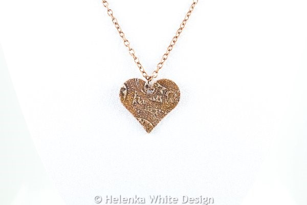 Paisley heart copper pendant