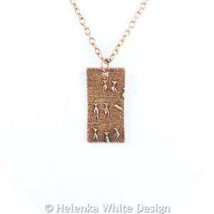 Little people copper pendant (rectangle)