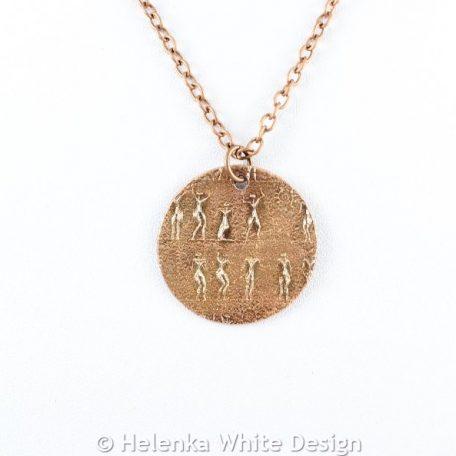 Round little people copper pendant