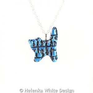 Little people standing cat pendant blue