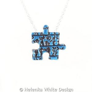 Little people puzzle pendant blue