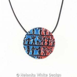 Little people pendant blue red