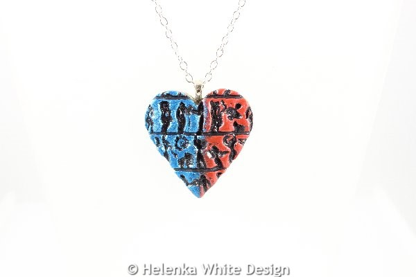 Little people heart pendant blue and red