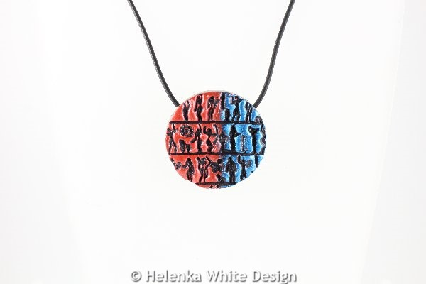 Little people pendant red blue