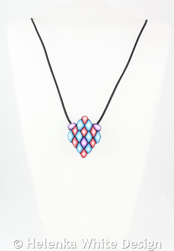 Diamond shaped pendant in blue red purple helenka white design diamond shaped red blue purple pendant aloadofball Image collections