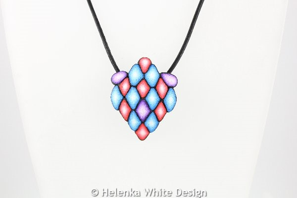 Diamond shaped red, blue & purple pendant