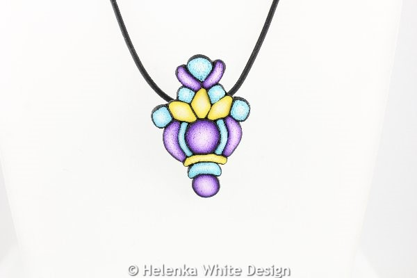Purple, yellow & turquoise pendant