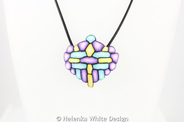 Large purple, yellow & turquoise pendant