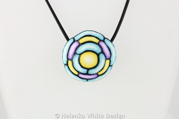 Turquoise, yellow & purple round pendant