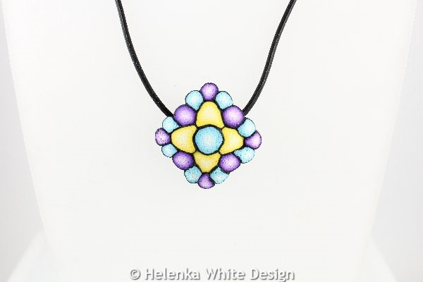 Turquoise, yellow & purple square pendant