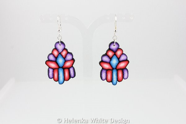 Purple, red and blue earrings