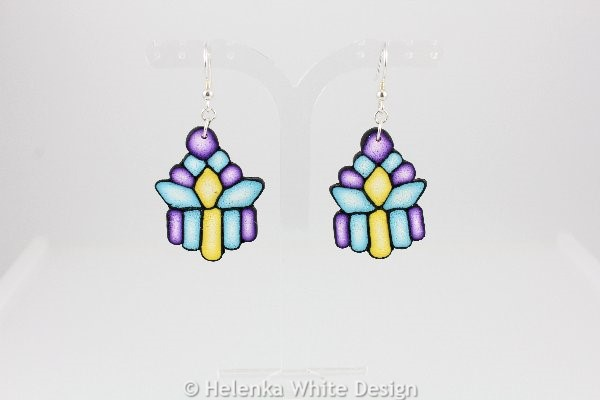 Purple, turquoise and yellow earrings