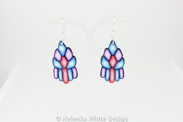 Diamond shaped blue, red and purple earrings