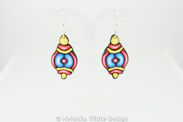 Blue, red and yellow earrings