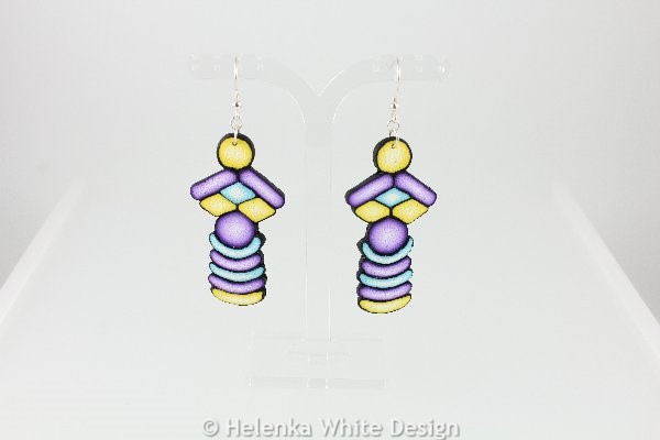 Long purple, turquoise and yellow earrings