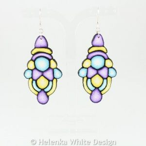 Big turquoise, yellow and purple earrings