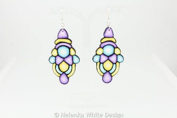 Big turquoise, yellow and purple earrings