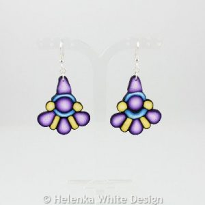 Purple, yellow and blue earrings.