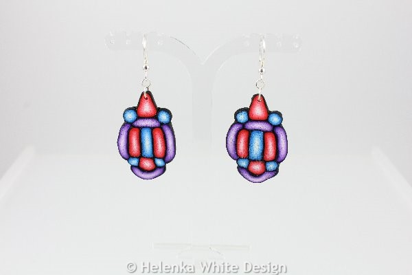 Blue, red and purple earrings