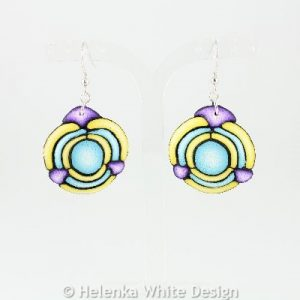 Purple, turquoise & yellow earrings.