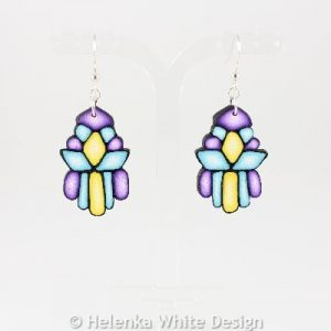 Turquoise, purple and yellow earrings