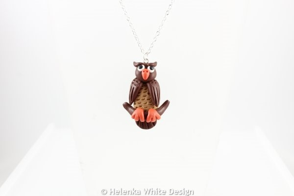 Brown owl pendant