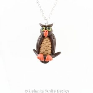 Green-eyed owl pendant