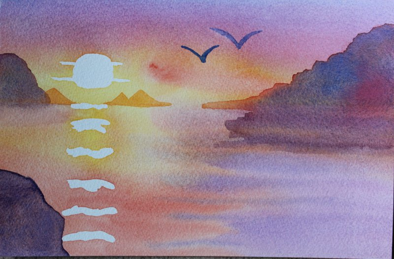 One of my first painting exercises. Sunset.