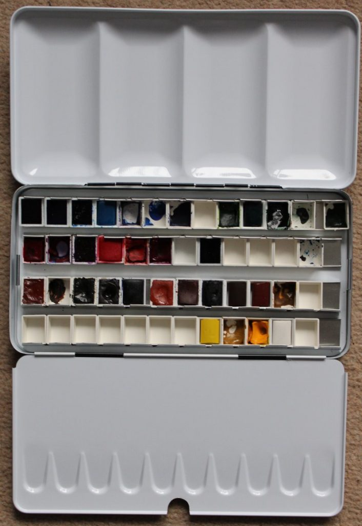 My new watercolour box, filled with lots of colours. Bought this from a fab art supplier called Jackson's.