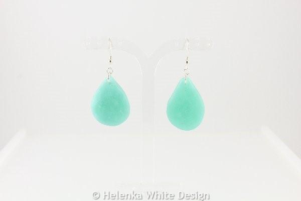 Faux beach glass earrings in green