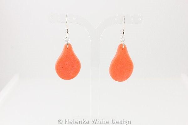 Faux beach glass earrings in orange