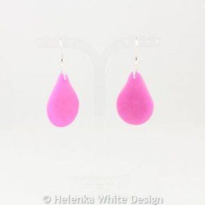 Faux beach glass earrings in pink